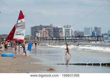 ATLANTIC CITY, NJ - AUGUST 8: View of the skyline and Atlantic Ocean in Atlantic City, New Jersey on August 8, 2017