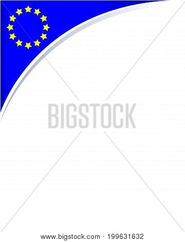 European Union flag frame corner with empty space for text.