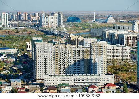 ASTANA, KAZAKHSTAN - SEPTEMBER 25, 2011: Aerial view to the city residential area buildings in Astana, Kazakhstan.