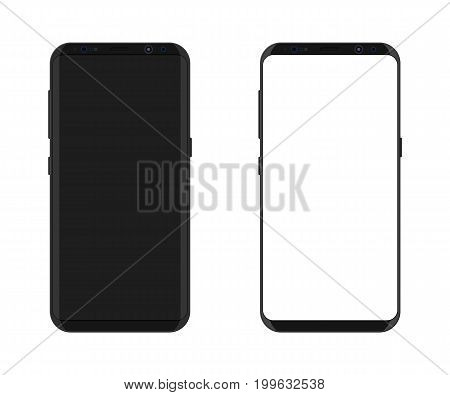 New generation smartphone with frameless edge display. White blank and original screen. Phone electronic device with touchscreen. Vector illustration in flat style