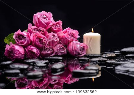 bouquet, rose with candle and therapy stones