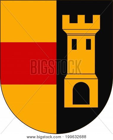 Coat of arms of Heidenheim is a district in the east of Baden-Wurttemberg Germany. Vector illustration from the