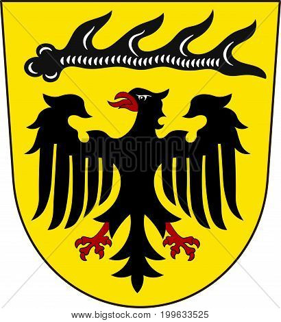 Coat of arms of Ludwigsburg is a district in the middle of Baden-Wurttemberg Germany. Vector illustration from the