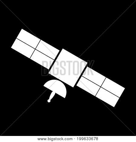 Satellite White Color Icon .