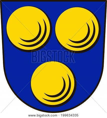 Coat of arms of Freiberg am Neckar is a town in the district of Ludwigsburg Baden-Wurttemberg Germany. Vector illustration from the