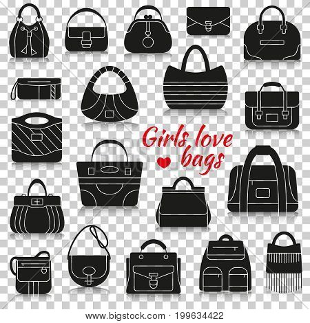 Different women bags. Silhouette icons with reflection on transparent background. Vector illustration.