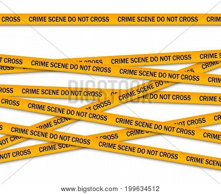Crime scene do not cross yellow police tape. Vector illustration