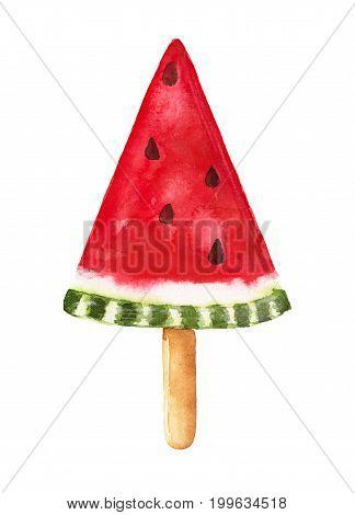 Watermelon Popsicle. Hand Drawn Watercolor Illustration.