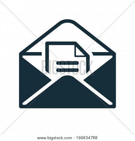 Envelope Icon Flat Black Open Document In