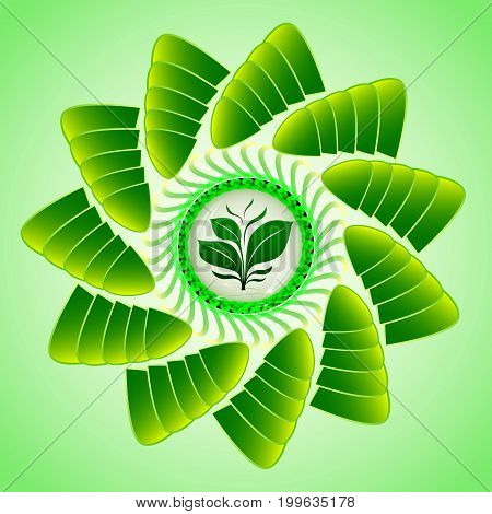 Emblem of a green sprout as a symbol of living nature in a transparent drop with abstract petals in a spiral