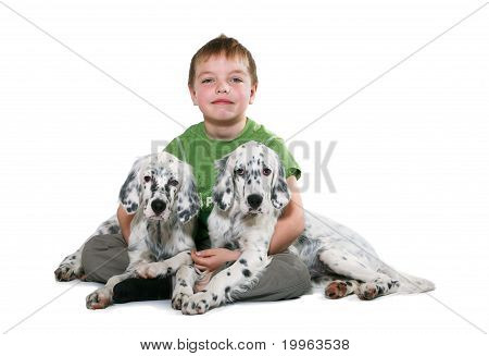 Kid With Puppyes