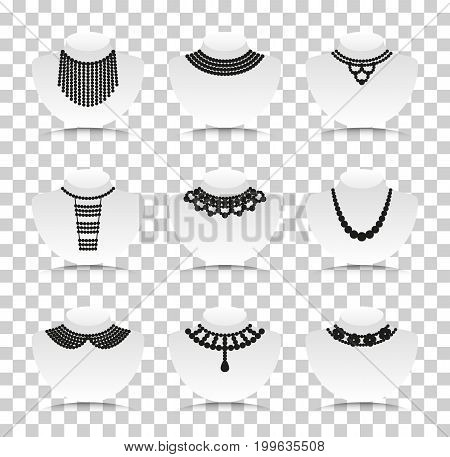 Bead silhouettes set. Silhouette icons with reflection on transparent background. Vector illustration.