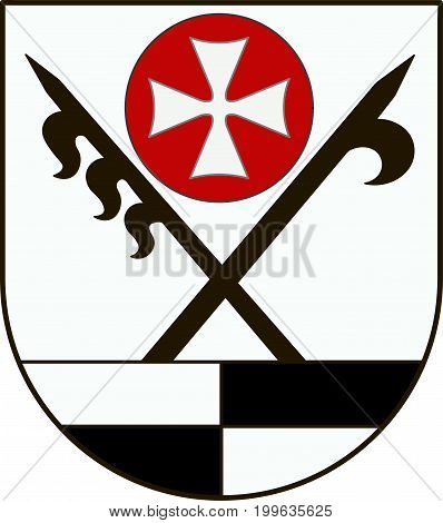 Coat of arms of Schwabisch Hall is a district in the northeast of Baden-Wurttemberg Germany. Vector illustration from the