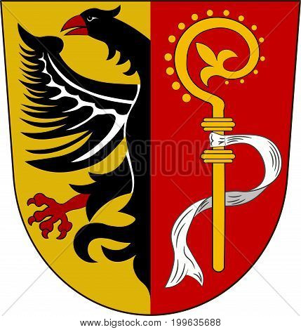 Coat of arms of Biberach is a district in Baden-Wurttemberg Germany. Vector illustration from the