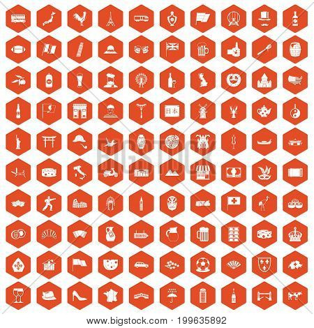 100 tourist attractions icons set in orange hexagon isolated vector illustration