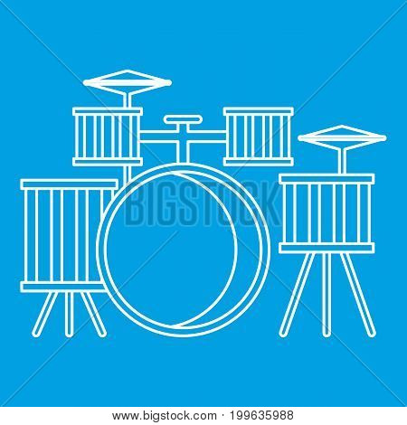 Drums icon blue outline style isolated vector illustration. Thin line sign