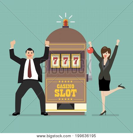 Slot machine jackpot with celebrate businessman and woman. Flat style vector illustration