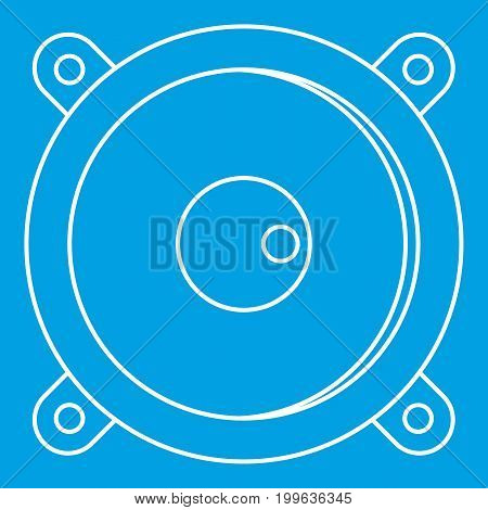 Sound speaker dynamic icon blue outline style isolated vector illustration. Thin line sign