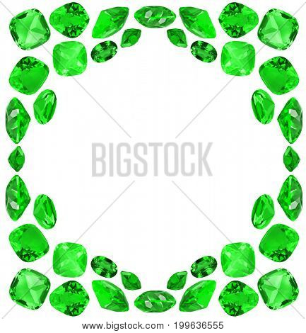 frame from green emerald gems isolated on white background