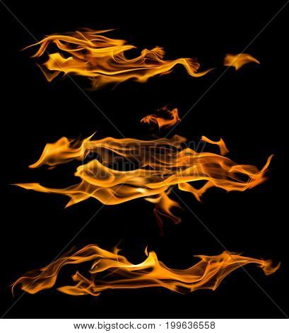yellow flames isolated on black background
