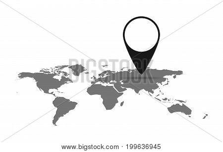 Black World Map. Vector illustration. Flat World Map with marker on light background.