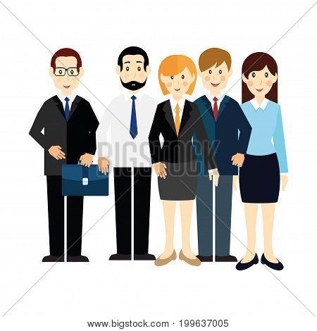 The set of five clerks, vector illustration.
