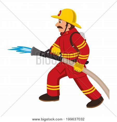 Firefighter in a red suit puts out fire with hose.