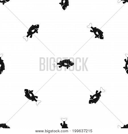 Sea bass fish pattern repeat seamless in black color for any design. Vector geometric illustration
