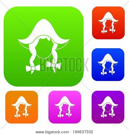 Girl dutch set icon in different colors isolated vector illustration. Premium collection