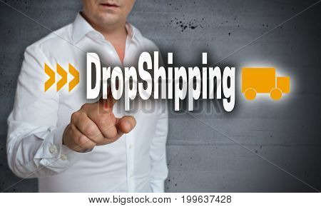 Dropshipping touchscreen is operated by man background