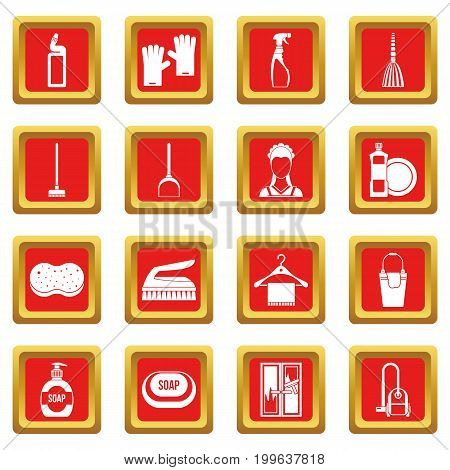 House cleaning icons set in red color isolated vector illustration for web and any design