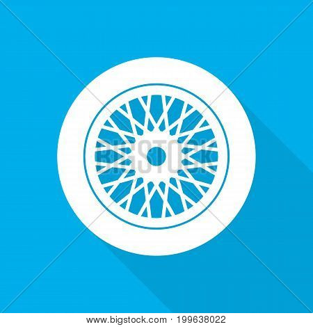 White car wheel icon with long shadow on blue background. Wheel sign in flat design.Vector illustration.