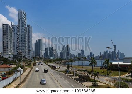 Panama City Panama - March 17 2014: View of an avenue leading to the Panama City's financial district in Panama City Panama.
