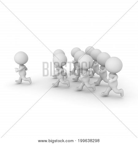 3D illustration of group running with one running ahead. Isolated on white.