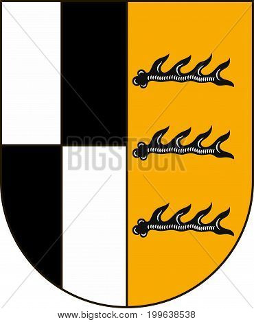 Coat of arms of Zollernalbkreis is a district in the middle of Baden-Wurttemberg Germany. Vector illustration from the
