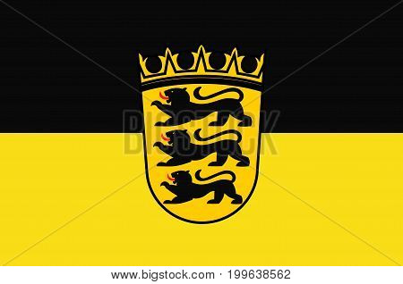 Flag of Baden-Wuerttemberg is a state in Germany located in the southwest east of the Upper Rhine. Vector illustration