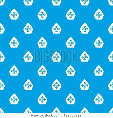 Christian hat pattern repeat seamless in blue color for any design. Vector geometric illustration