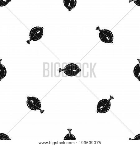 Flounder pattern repeat seamless in black color for any design. Vector geometric illustration