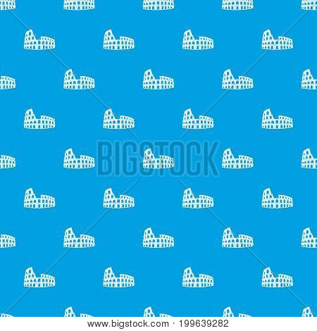 Roman Colosseum pattern repeat seamless in blue color for any design. Vector geometric illustration