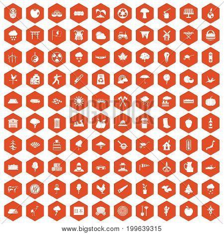 100 tree icons set in orange hexagon isolated vector illustration