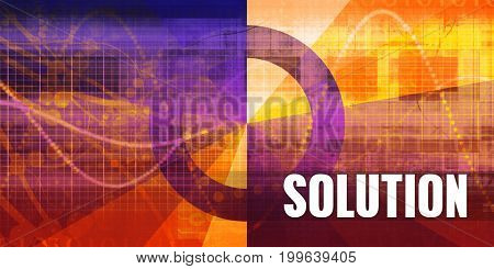Solution Focus Concept on a Futuristic Abstract Background