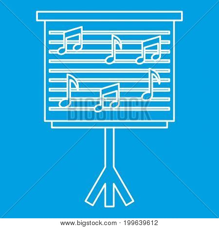 Musical notes on stand icon blue outline style isolated vector illustration. Thin line sign