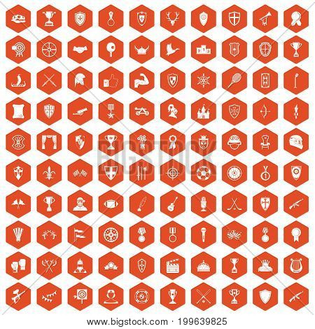 100 trophy and awards icons set in orange hexagon isolated vector illustration