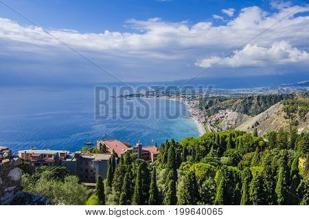 Geography of the sicilian coast seen from the city of taormina