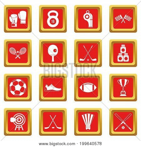 Sport equipment icons set in red color isolated vector illustration for web and any design