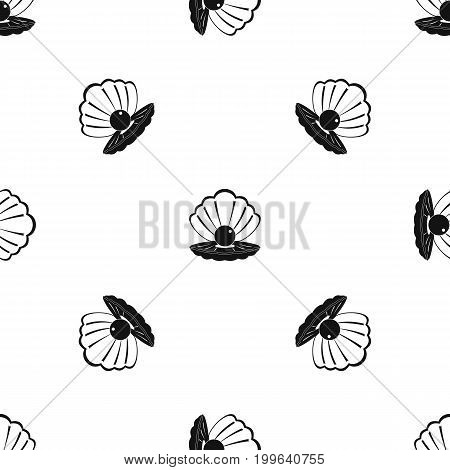 Pearl in a sea shell pattern repeat seamless in black color for any design. Vector geometric illustration