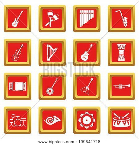Musical instruments icons set in red color isolated vector illustration for web and any design