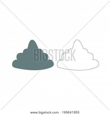 Poo Grey Set Icon .