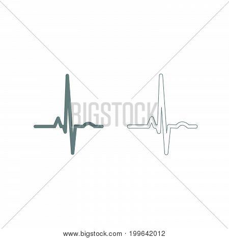 Heart Rhythm Ekg Grey Set Icon .