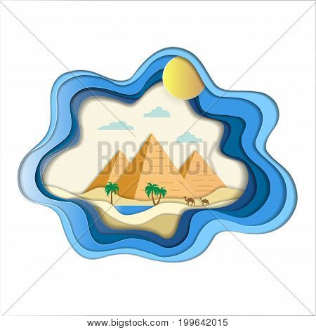 Paper art carve of natural pyramid amid desert landscape with camels and oasis background, Origami concept nature and travel idea, Symbol of travel and Egypt, Vector illustration Paper art style.